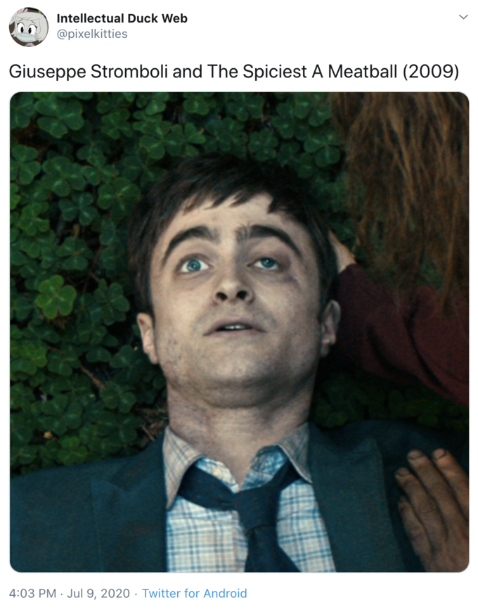 Intellectual Duck Web @pixelkitties Giuseppe Stromboli and The Spiciest A Meatball (2009) 4:03 PM · Jul 9, 2020 · Twitter for Android Daniel Radcliffe Swiss Army Man Face Chin Forehead Human