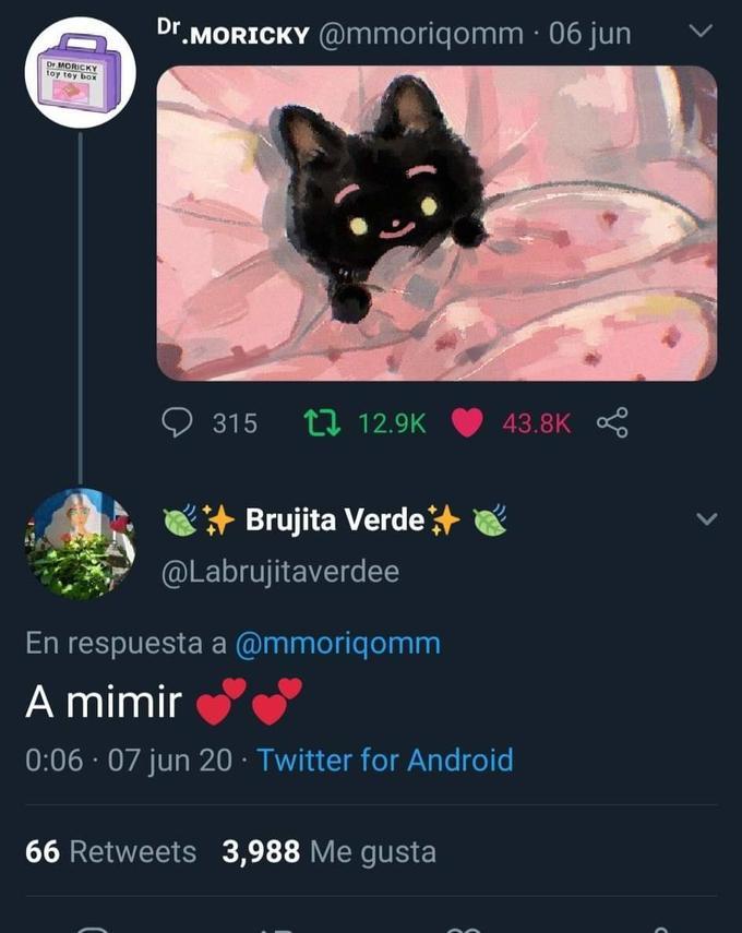 Dr MORICKY @mmoriqomm · 06 jun Dr. MORICKY toy toy box 9 315 t7 12.9K 43.8K + Brujita Verde @Labrujitaverdee En respuesta a @mmoriqomm A mimir 0:06 · 07 jun 20 · Twitter for Android 66 Retweets 3,988 Me gusta Cat Felidae Black cat Small to medium-sized cats Text