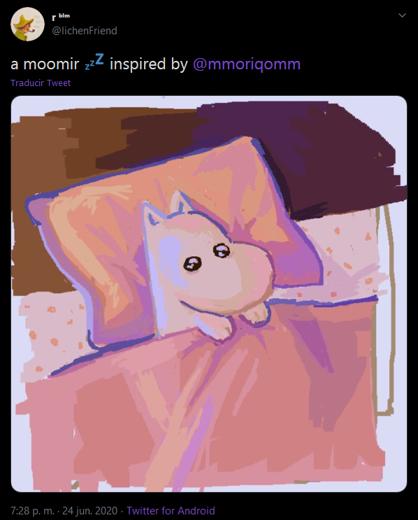 r blm @lichenFriend a moomir zzz inspired by @mmoriqomm Traducir Tweet 7:28 p. m. · 24 jun. 2020 · Twitter for Android Cartoon