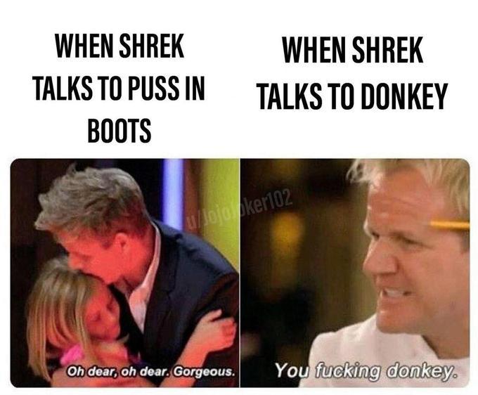 WHEN SHREK WHEN SHREK TALKS TO PUSS IN TALKS TO DONKEY ВОOTS u/ojooker102 Oh dear, oh dear. Gorgeous. You fucking donkey. Human