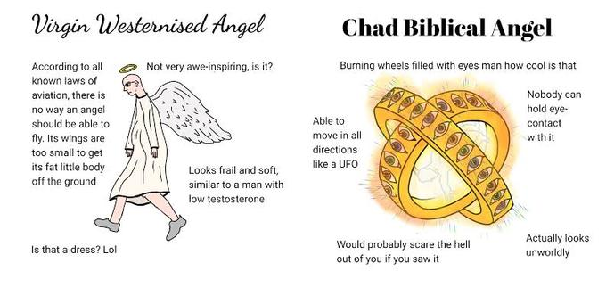 Virgin Westernised Angel Chad Biblical Angel According to all Not very awe-inspiring, is it? Burning wheels filled with eyes man how cool is that known laws of Nobody can hold eye- aviation, there is no way an angel should be able to Able to contact move in all with it fly. Its wings are too small to get its fat little body off the ground directions like a UFO Looks frail and soft, similar to a man with low testosterone Would probably scare the hell out of you if you saw it Actually looks unworldly Is that a dress? Lol Text