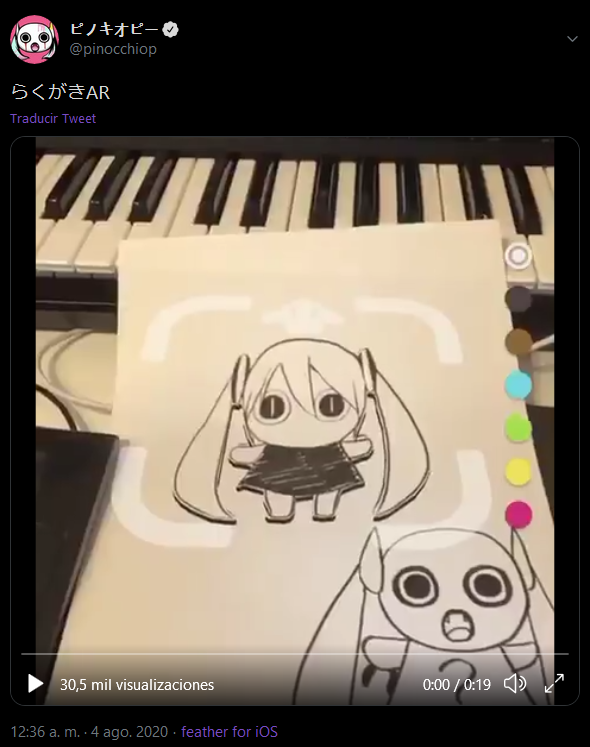 ピノキオピーの @pinocchiop らくがきAR Traducir Tweet 30,5 mil visualizaciones 0:00 / 0:19 ) ? 12:36 a. m. - 4 ago. 2020 · feather for iOS Cartoon Piano Keyboard Electronic instrument Technology Electronic device