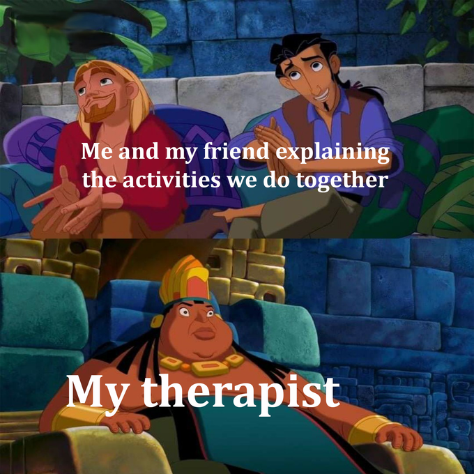 Me and my friend explaining the activities we do together My therapist Cartoon Animated cartoon Animation Adventure game