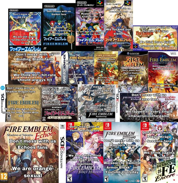 Nintendo Nintendo スーパーファミコン スーパーファミコン Nintendo SUPER FamICOM SUPER FamIcom Don't mess with us Genealogy fans Nintendo Don't mess with us Don't mess with us Don't mess with us OG FE1 fans Mystery of the Emblem fans Gaiden fans We waste our lifespan spamming #justplaygaiden Don't mess with us Thracia 776 fans FireEmDien Nintendo We will beat you to death for playing the remake FUEEMBLENS We fucked our sister トラキアア76 ファイア-エムプルム We are still waiting for the first animation to end ファイアーエムルム同ラッイェスル伝ファイアーエムブレム TM We think three digit numbers are funny FIREEMBLEM 聖戦の系譜 TM シミュレーションRPG バッテリーバックアップ ファイデーエムルム SHVC-EM シミュレーションRPG(一人用) バッテリーバックアップ SUPER FNicom パッテリーバックアップ スーパーファミコン Wii. GAME B ARDON t mess with uS Binding Blade fans Alintendo NINTENDO GAMECUBE. NLY FIRE EMBLEM FIRE EMBLEMM Don't mess with us FIRE EMBLEM THE SACRED STONES Don't mess with us Sacred Stones fans FIRE EMBLEM RADIANT DAWN Don't mess with us Radiant Dawn fans Blazing Blade fans PATH OF RADIANCE Don't mess with us Path of Radiance fans ERFEMBLEM We think 90% hit-rate iSttorsk should always hit Lyn got us into Hentai We thinks saying E