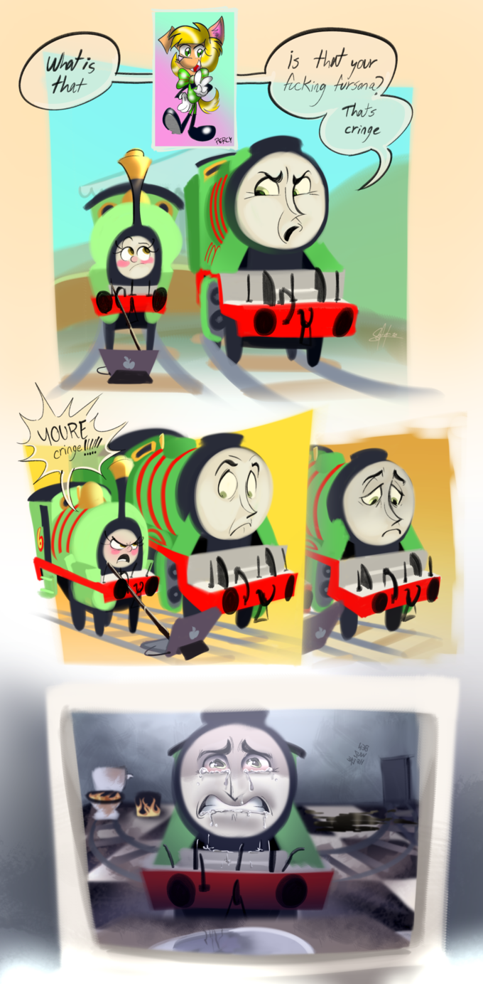 is that your, Whatis that kckig Aursona) Thats cringe PERCY YOURE cringel to Thomas the tank engine Cartoon Transport Train Fictional character