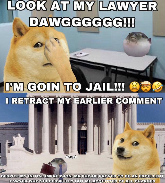 LOOK AT MỸ LAWYER DAWGGGGGG!!! I'M GOIN TO JAIL!! I RETRACT MY EARLIER COMMENT Aeugh DESPITE MY INITIAL ÎMPRESSION, MR PHISHE PROVED TO BE AN EXCELLENT LAWYER WHO SUCCESSFULLY GOT ME ACQUITTED OF ALL CHARGES Dog Mammal Canidae Shiba inu Akita Carnivore Finnish spitz Akita inu Norwegian buhund Photo caption