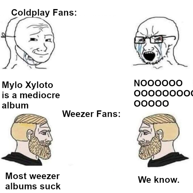 Coldplay Fans: NO00000 Mylo Xyloto is a mediocre album 00000000O 00000 Weezer Fans: Most weezer We know. albums suck Face Nose Jaw Head Text Human Organ Line