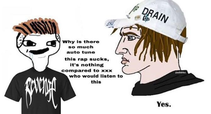 DRAIN Why is thore so much auto tune this rap sucks, it's nothing compared to xxx who would listen to this eodau Yes. Cartoon Head Cap Illustration Helmet Headgear