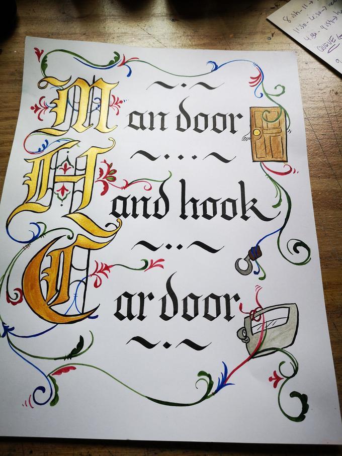 NF an door 11:50-4:50-) icee 43-915h-ha 8sh-11> QUE VE L and hook ar door 00 Car Text Font Handwriting Calligraphy Art Drawing Illustration