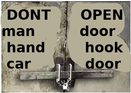 DONT ΟΡEN door. man hand hook car door Font Text
