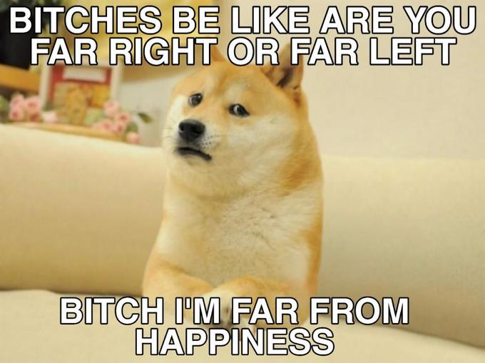 BITCHES BE LIKE ARE YOU FAR RIGHT OR FAR LEFT BITCH I'M FAR FROM HAPPINESS Shiba Inu Korean Jindo Dog Mammal Vertebrate Canidae Shiba inu Dog breed Photo caption Carnivore Font Akita inu Snout Korean jindo dog