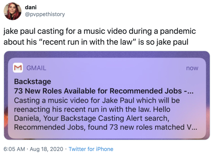 dani @pvppethistory jake paul casting for a music video during a pandemic about his