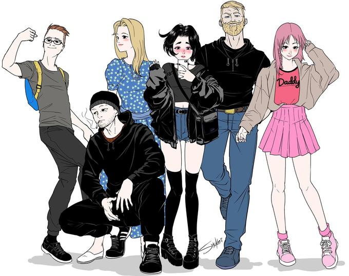 Daddy Ca ** * * * * Social group People Cartoon Fashion illustration Fashion Illustration Youth Fun