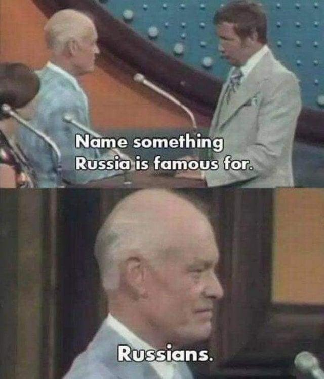 Name something Russia is famous for. Russians. Forehead Photo caption