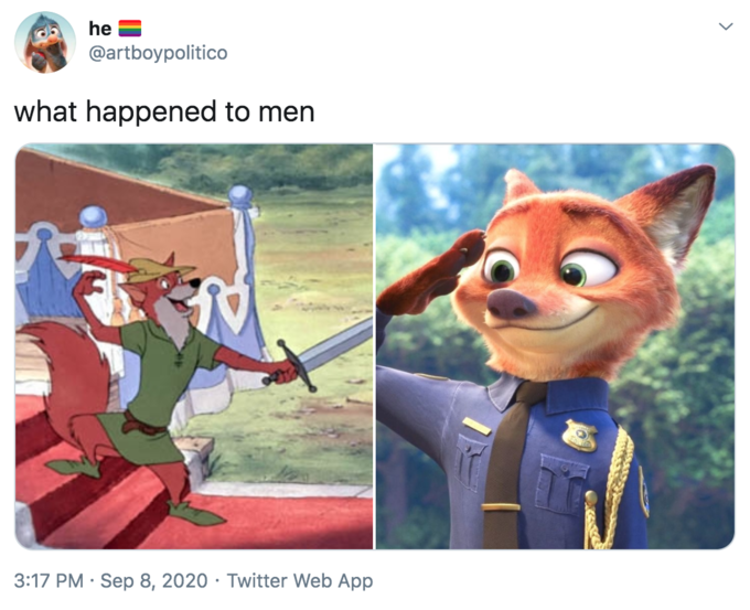 he @artboypolitico what happened to men 3:17 PM · Sep 8, 2020 · Twitter Web App Nick Wilde Lt. Judy Hopps Animated cartoon Cartoon Animation