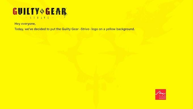 GUILTY GEAR STRIVE - Hey everyone, Today, we've decided to put the Guilty Gear -Strive- logo on a yellow background. ine ARC SYSTEM WORKS Text Yellow Green Font Line Orange