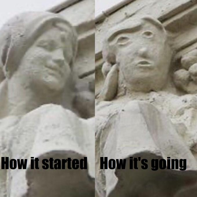 How it started How it's going Los Angeles County Museum of Art Stone carving Sculpture Classical sculpture Statue Head Carving Landmark Art Relief Nose Ancient history Monument Forehead