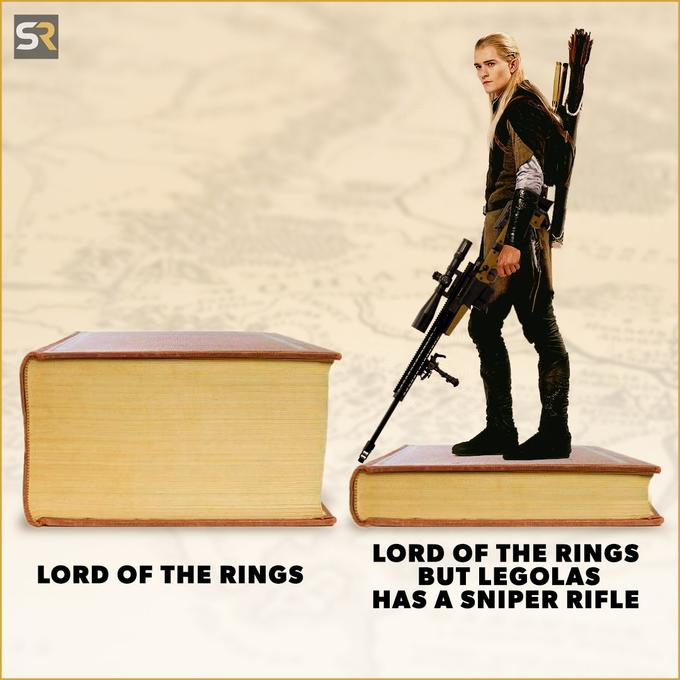 SR LORD OF THE RINGS BUT LEGOLAS HAS A SNIPER RIFLE LORD OF THE RINGS Action figure