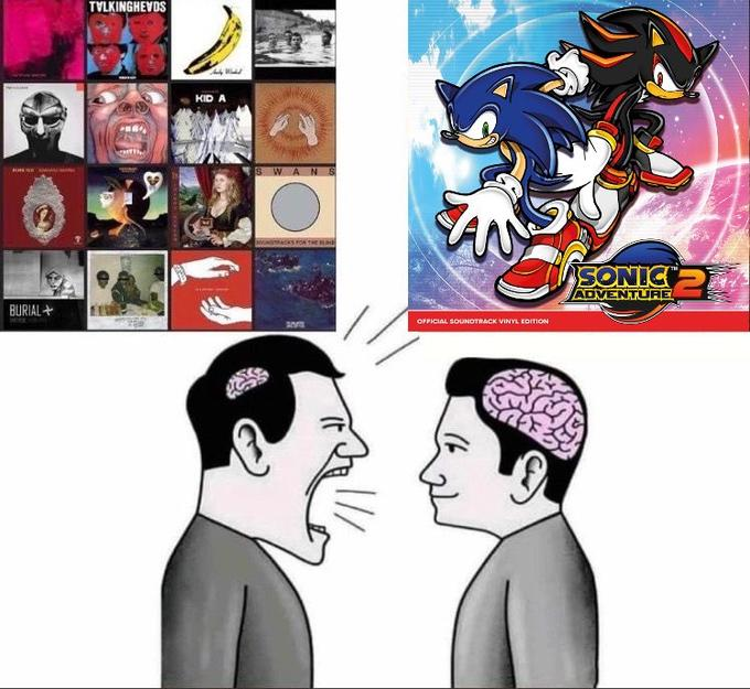 TVLKINGHEVOS KID A SWANS SONIC ADVENTURE BURIAL+ OPFICIAL SOUNDTRACK VINYL EDITION Sonic Adventure 2 Head Cheek People Hairstyle Chin Forehead Facial expression Jaw Interaction Neck Cartoon Conversation Illustration Animated cartoon