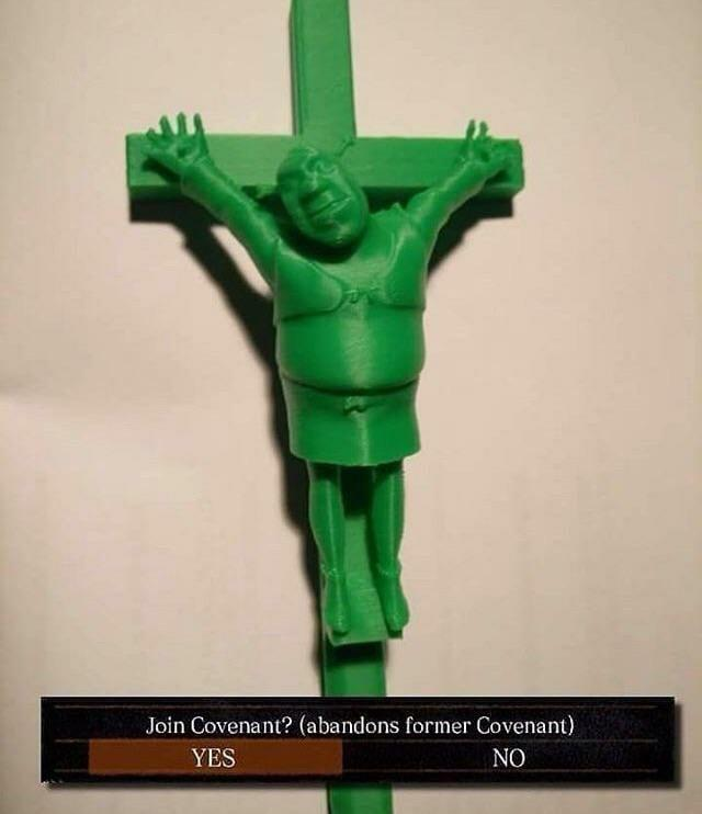 Join Covenant? (abandons former Covenant) YES NO Green Standing Joint Sculpture Gesture Toy