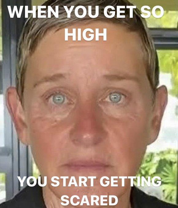 WHEN YOU GET SO HIGH YOU START GETTING SCARED Ellen DeGeneres The Ellen DeGeneres Show Lip Cheek Hairstyle Skin Chin Forehead Eyebrow Text Iris Jaw Organ Temple Muscle Tan