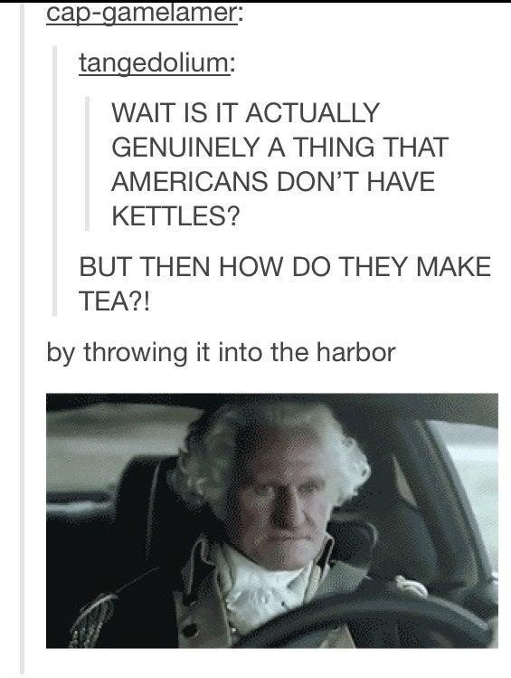 cap-gamelamer: tangedolium: WAIT IS IT ACTUALLY GENUINELY A THING THAT AMERICANS DON'T HAVE KETTLES? BUT THEN HOW DO THEY MAKE TEA?! by throwing it into the harbor Font