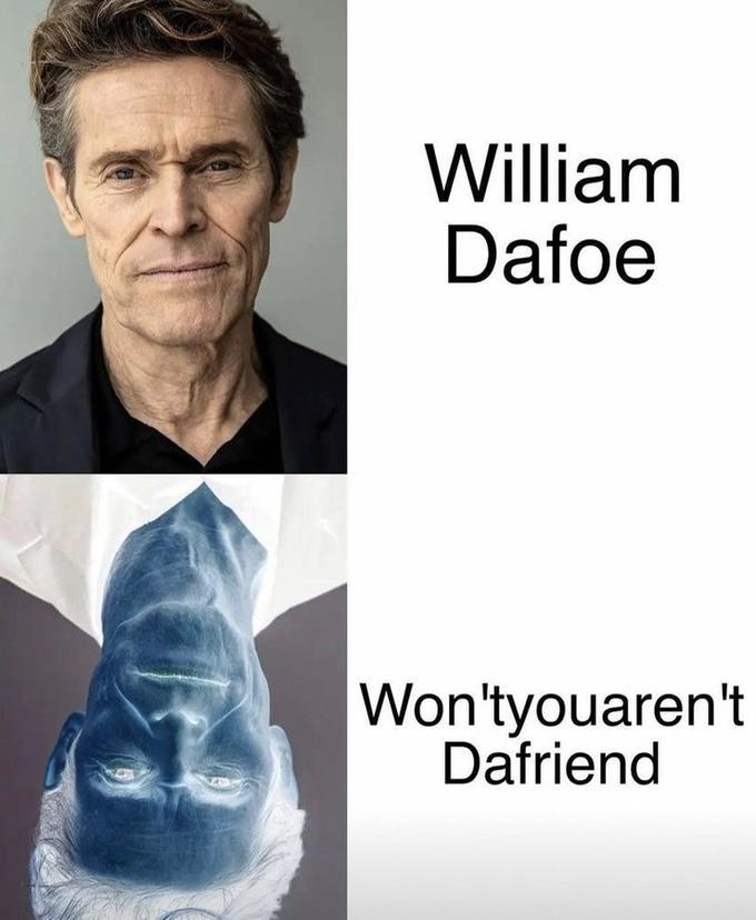 William Dafoe Won'tyouaren't Dafriend Willem Dafoe Spider-Man Forehead Eye Jaw Neck Sleeve Gesture Font