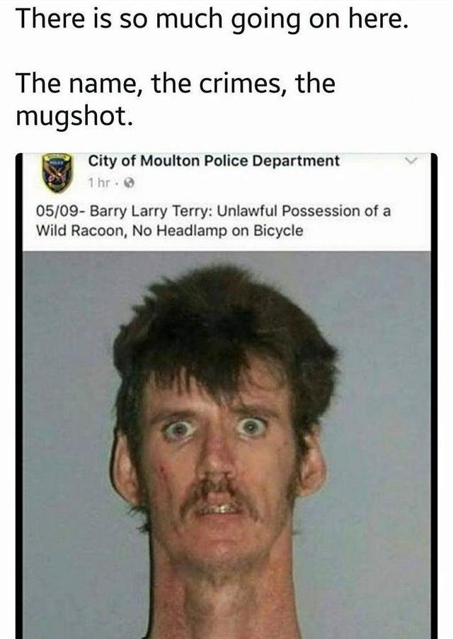 There is so much going on here. The name, the crimes, the mugshot. City of Moulton Police Department 1 hr. 0 05/09- Barry Larry Terry: Unlawful Possession of a Wild Racoon, No Headlamp on Bicycle Forehead Nose Face Head Chin Eyebrow Facial expression Human Jaw Font Eyelash Facial hair