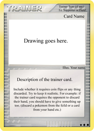 Image Fake CCG Cards Know Your Meme - Pokemon trainer card template