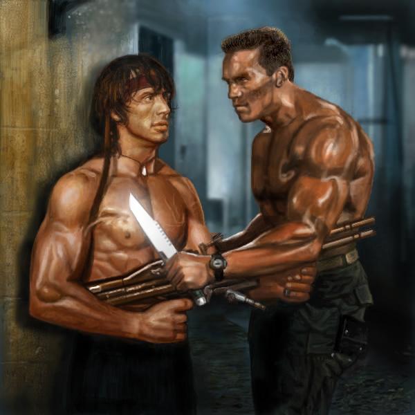 Arnold Schwarzenegger Commando Sylvester Stallone Bodybuilder Bodybuilding Muscle
