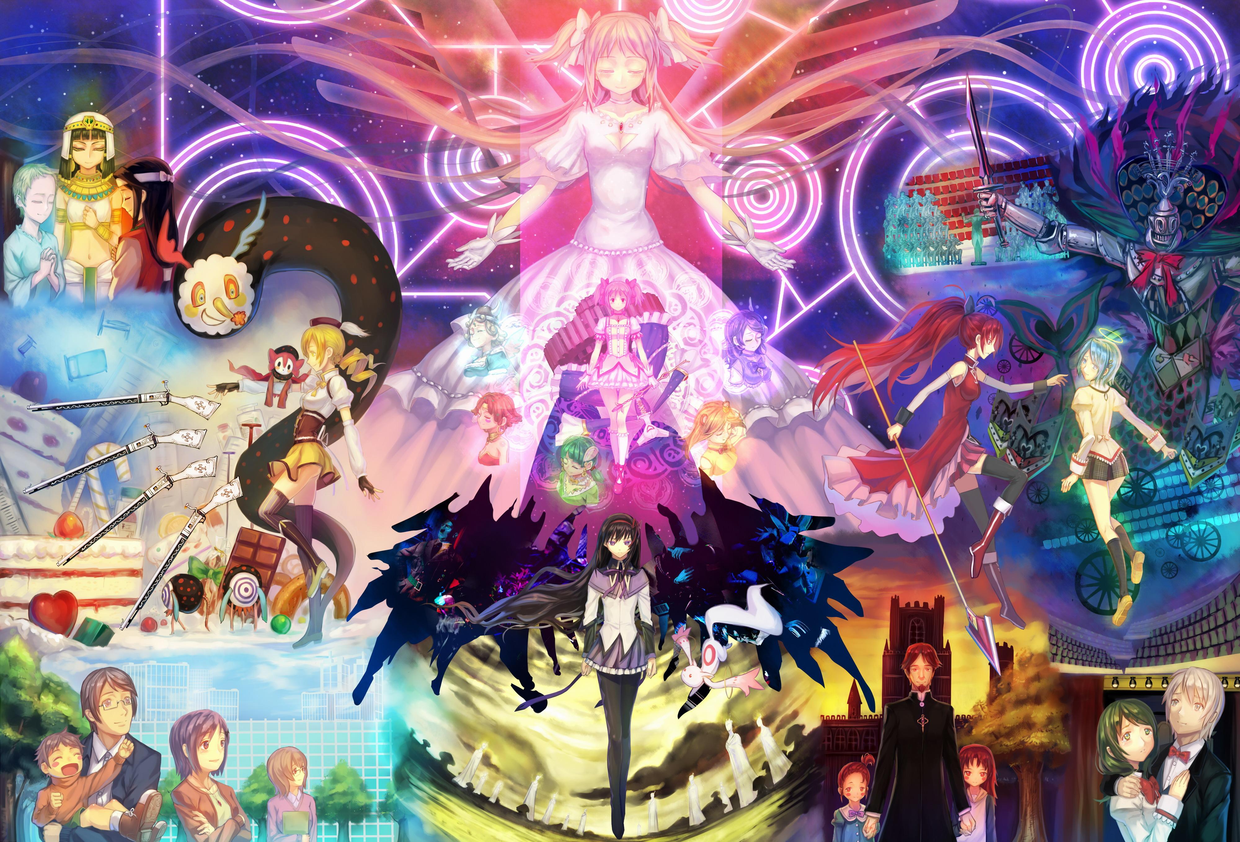 Homura Akemi Madoka Kaname Mami Tomoe Kyubey Puella Magi Magica Kyoko Sakura Art Psychedelic