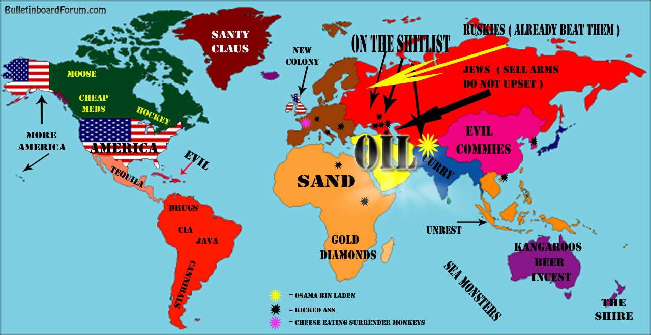 World map of stereotypes | Nationality Stereotypes | Know Your Meme