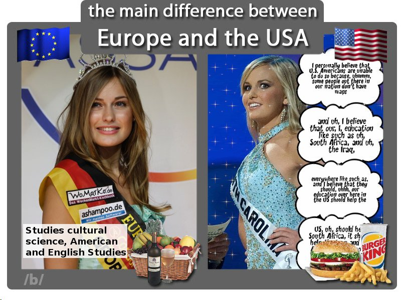 45f6bebf17b the main difference between Europe and the USA Ipersenally believe th U.S.  Americans are una to