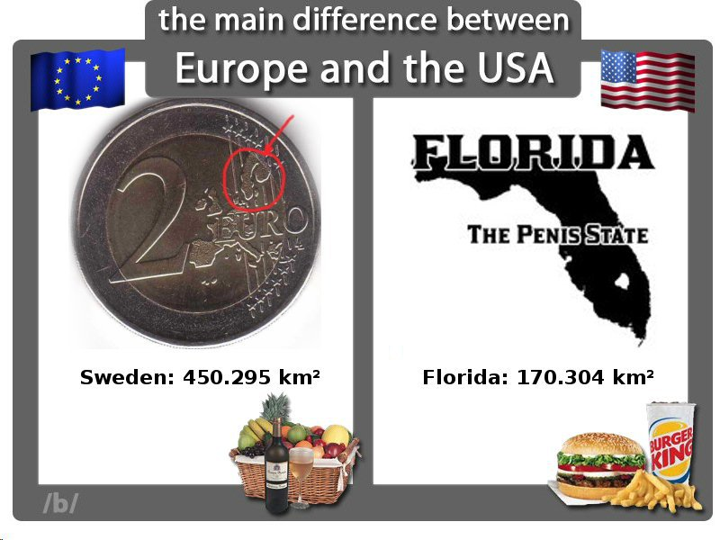 b2aa74ae80f the main difference between Europe and the USA FLORIDA THE PENISSTATE  Sweden  450.295 km2 Florida