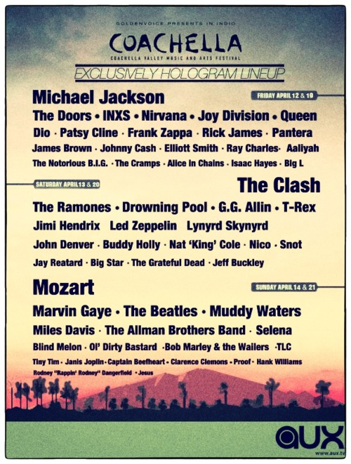 COACHELLA CEACHELLA ALLET MUSIC AND ANTS FESTIVAL EXCLUSIVELY HOLOGRAM LINEUP Michael Jackson The Doors·INXS  sc 1 st  Know Your Meme & Image - 286951] | Tupac Hologram | Know Your Meme
