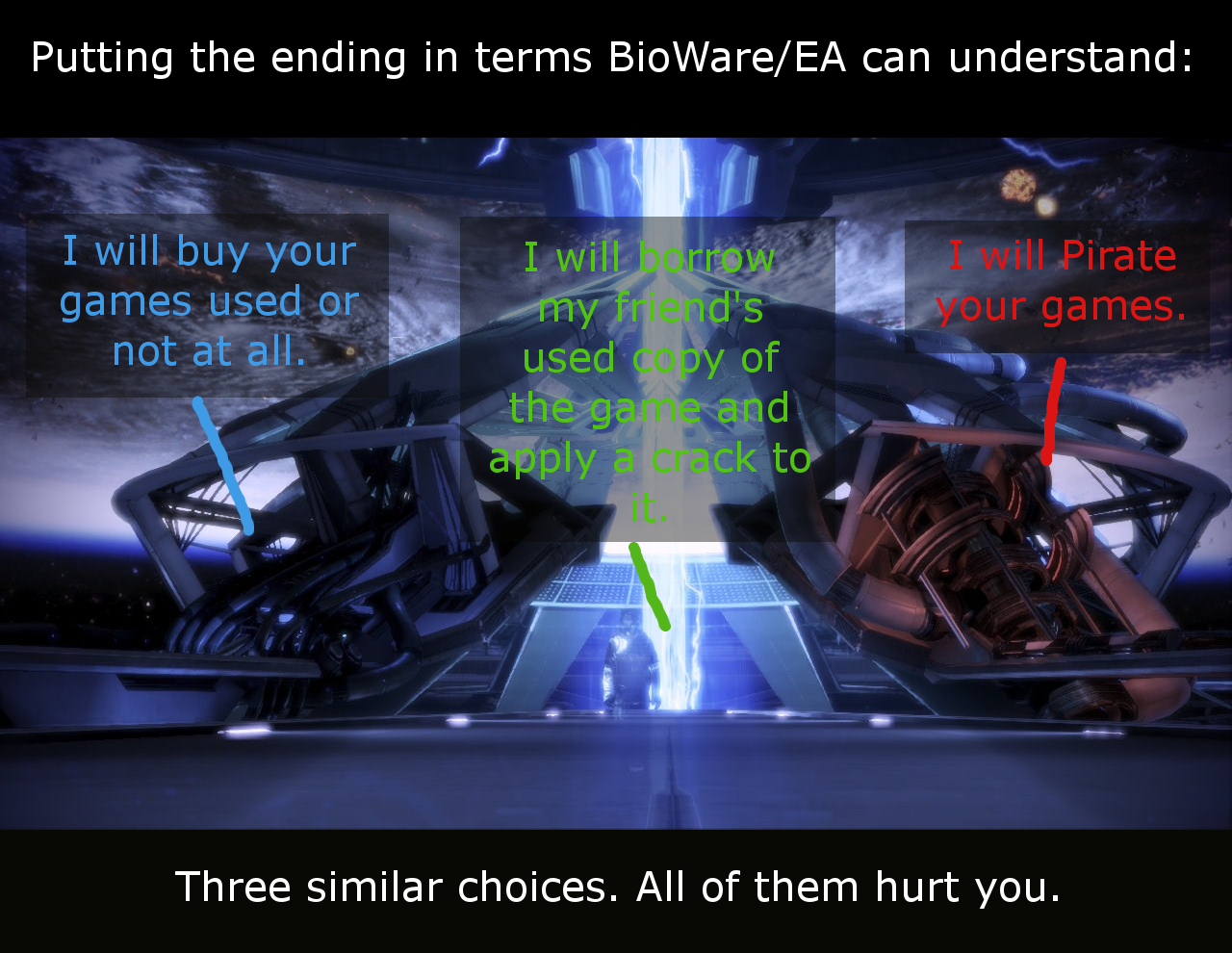 ea ending translator mass effect 3 endings reception know your meme rh knowyourmeme com Mass Effect Armor Mass Effect Movie