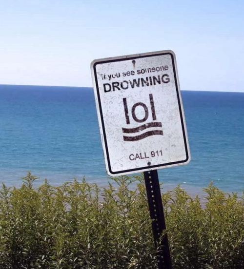 If You See Someone Drowning Lol Bacon Call 911 Push Button