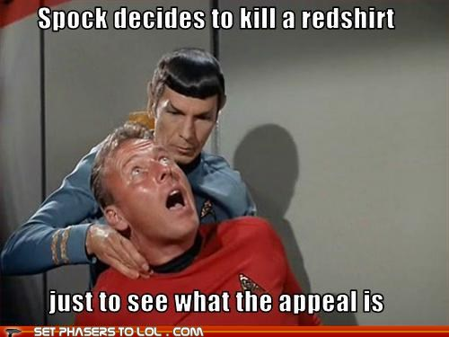 Image result for redshirt star trek meme