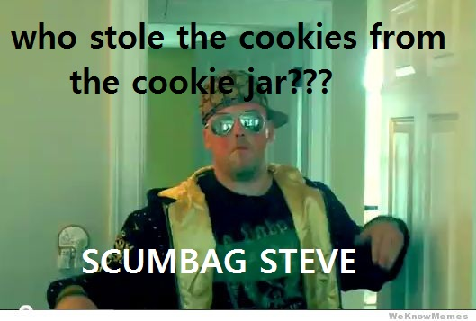 Who Stole The Cookie From The Cookie Jar Song Adorable The Cookie Jar Song Scumbag Steve Know Your Meme