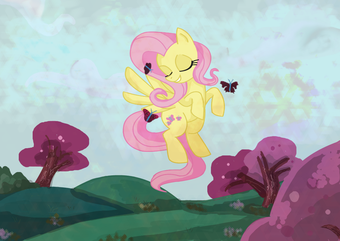 fluttershy flying with butterflies - 850×604