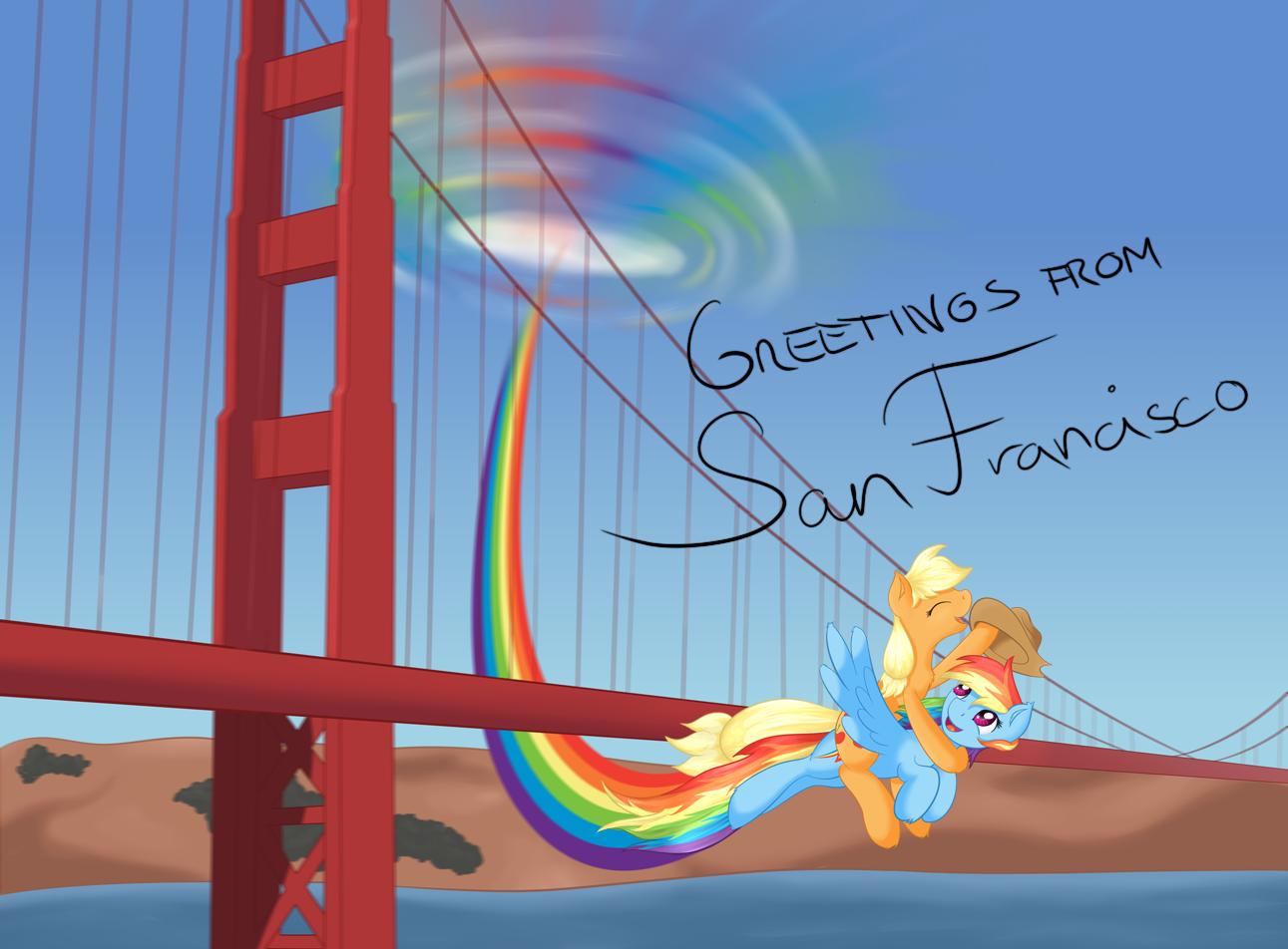 Greetings from san francisco my little pony friendship is magic san francisco rainbow dash sky m4hsunfo