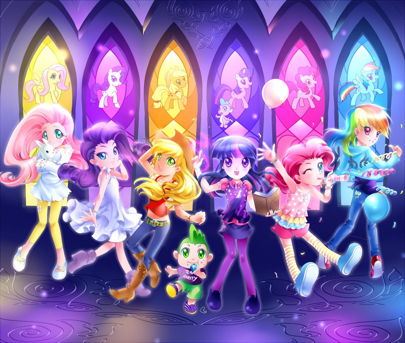 Rainbow Dash Pinkie Pie Spike Twilight Sparkle Pony Pink Purple Anime