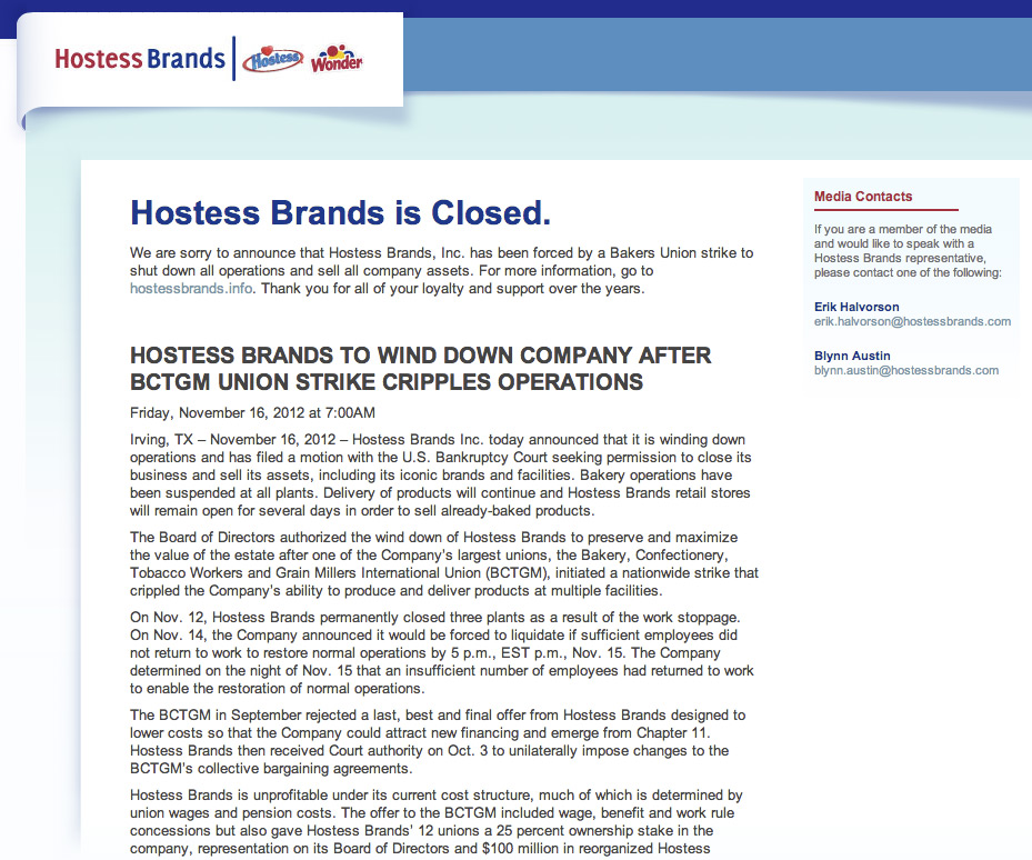 Hostess website