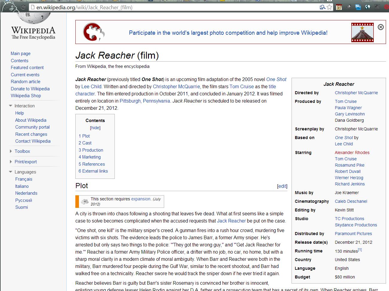 jack reacher wikipedia page alexander rhodes suspicious onlooker