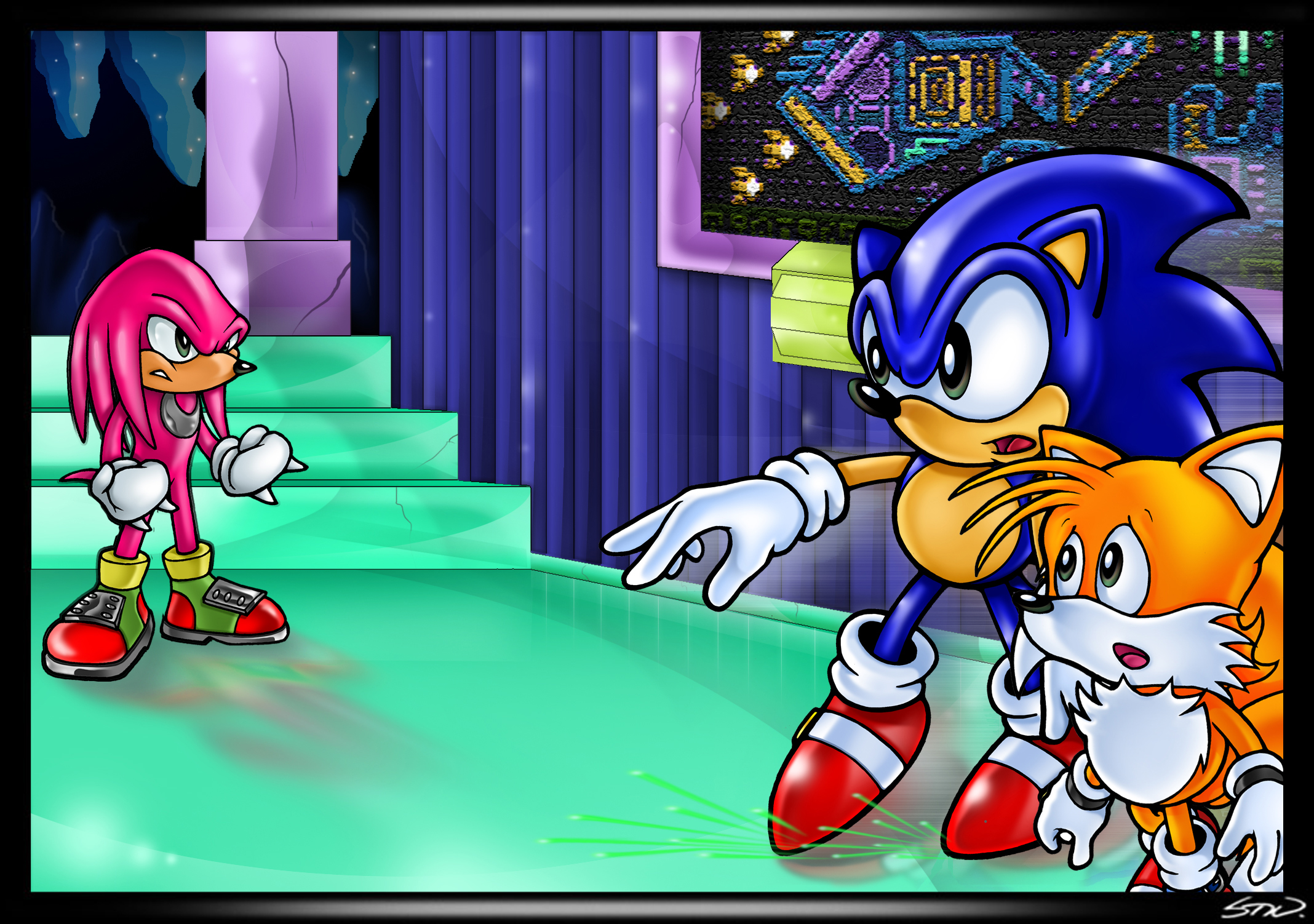 Sonic And Tails Vs Knuckles In Hidden Palace Sonic The Hedgehog Know Your Meme
