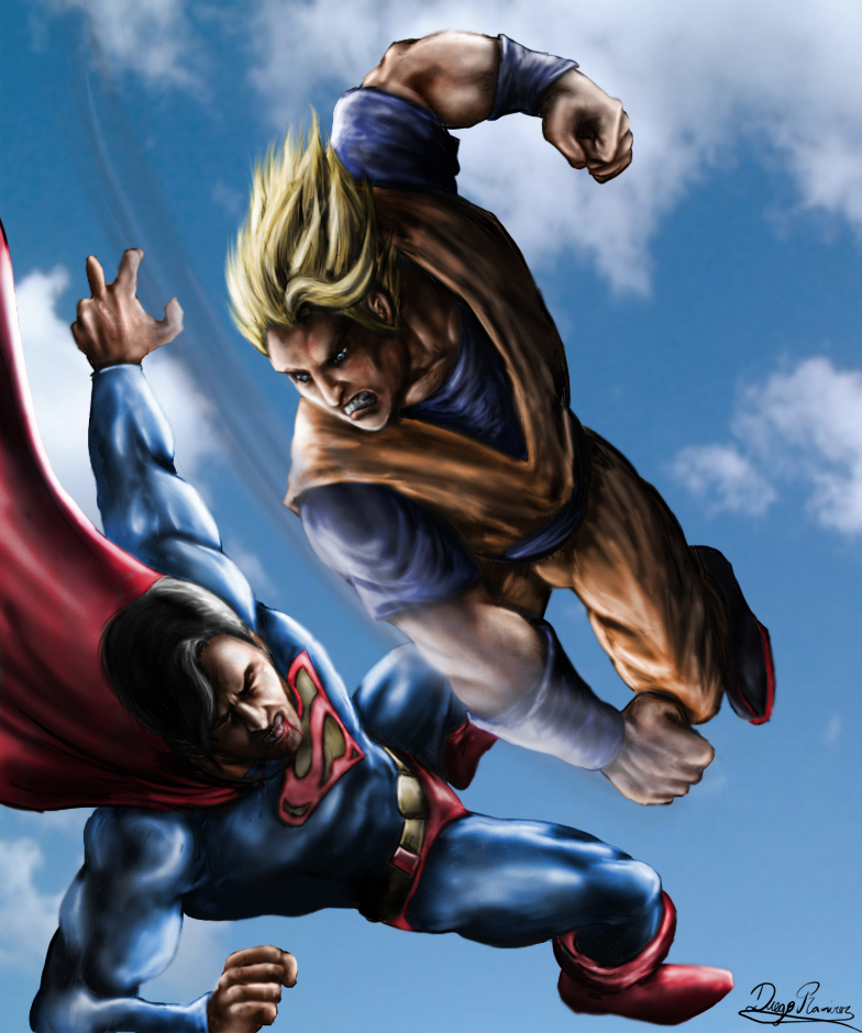 Goku And Superman Duel In The Skies Goku Vs Superman Know Your Meme
