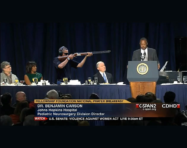 Obama hears truth and doesn't like it | Obama Skeet Shooting Photo