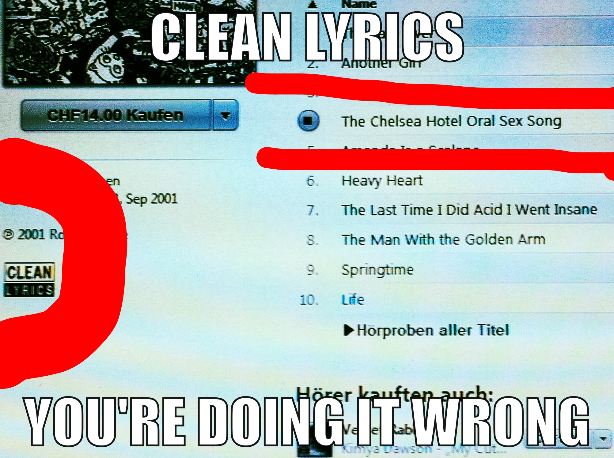 clean lyrics you re doing it wrong know your meme