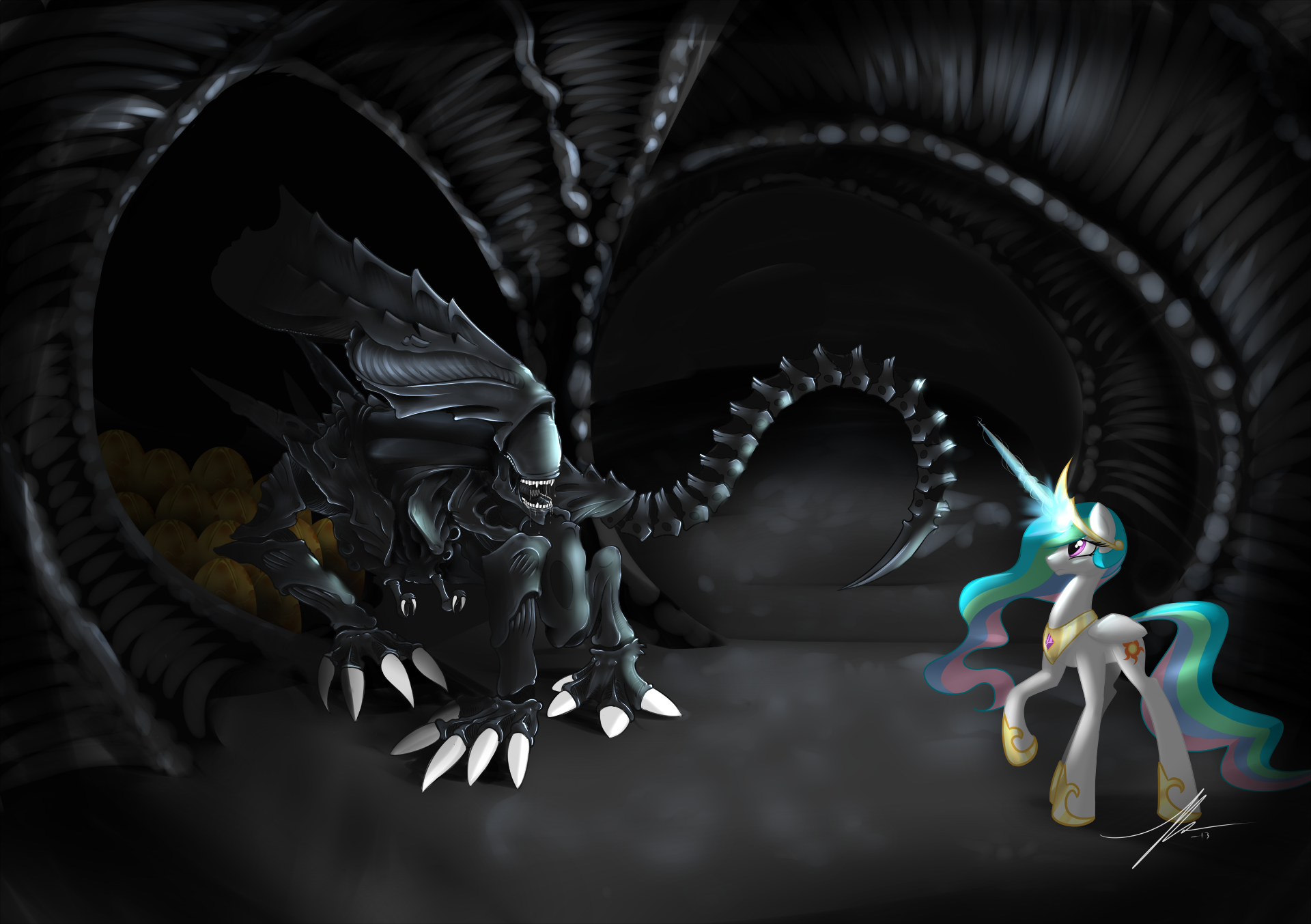 Celestia Vs Xenomorph Queen My Little Pony Friendship Is
