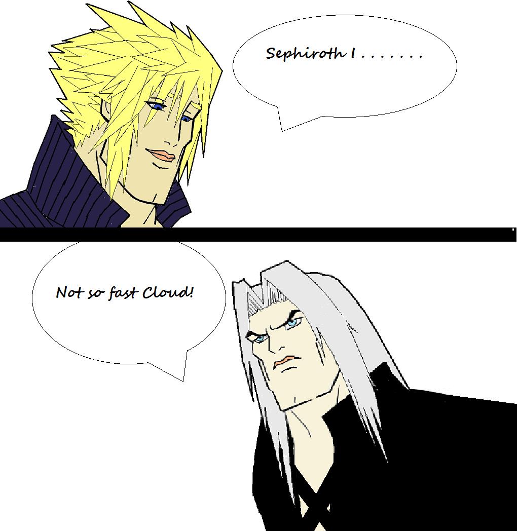 Sephiroth I Not Fast Cloud Cartoon Face Black Facial Expression Nose Text Human Hair